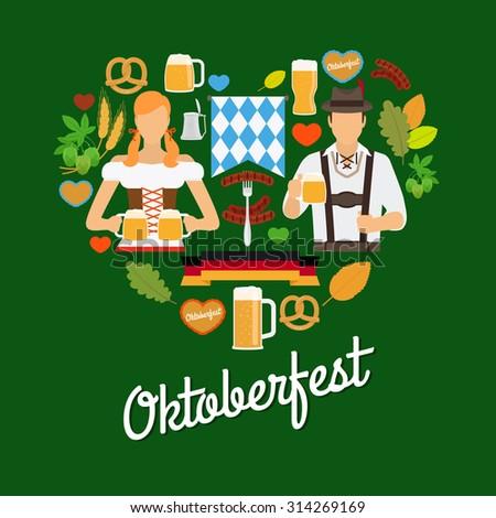 Oktoberfest flat elements - stock photo