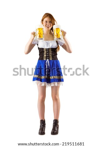 Oktoberfest girl holding jugs of beer on white background