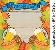 Oktoberfest Party Frame Invitation Poster - stock photo