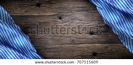 The Blue Checkered Tablecloth Or Napkin Typical Of The Munich Beer Festival  In The