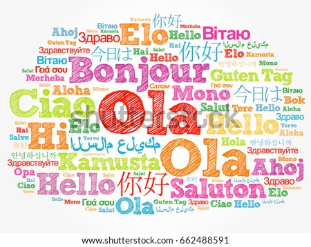 Ola hello greeting portuguese word cloud stock illustration ola hello greeting in portuguese word cloud in different languages of the world m4hsunfo