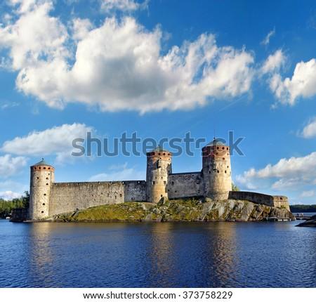 Olavinlinna castle in Savonlinna, Finland - stock photo