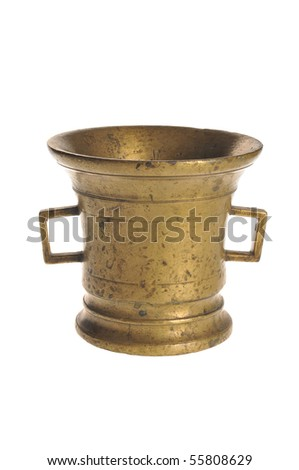 Old a bronze mortar on a white background - stock photo