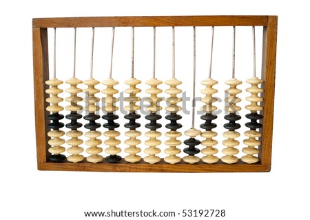 Old abacus on a white background
