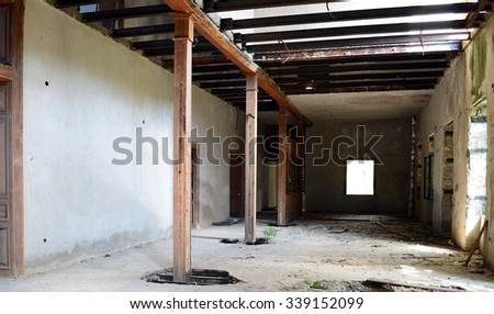 Old abandonated industrial building - stock photo