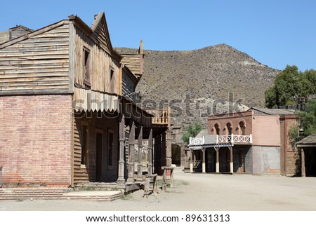 Old abandoned american western town - stock photo