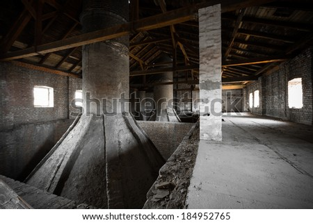 old abandoned brewery attic, malt drying, chimneys