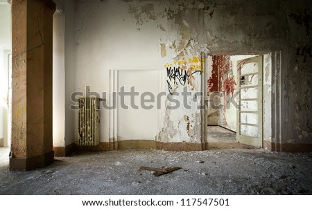 old abandoned building, interior - stock photo