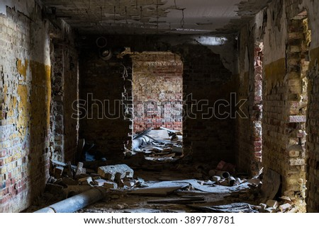Old abandoned building interior - stock photo