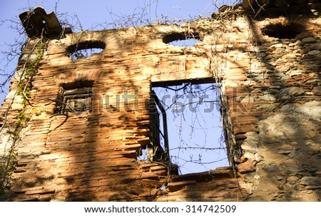 Old abandoned building without roof - stock photo