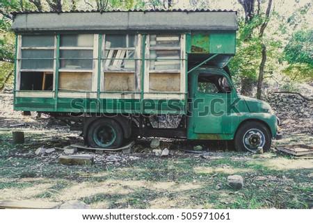 Old Abandoned Camper Truck Vintage Style
