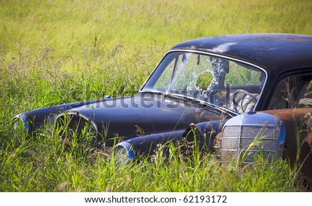 Old abandoned car rusting in the tall green grass - stock photo