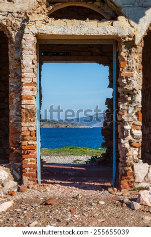 Old abandoned cargo customs train stop near the sea against a scenic background - stock photo
