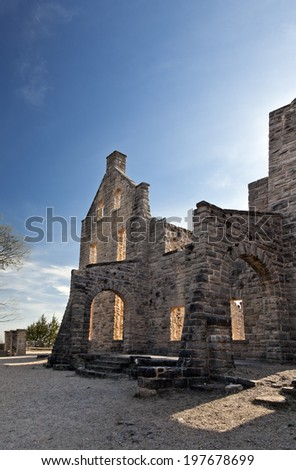Old Abandoned Castle Ruins - stock photo