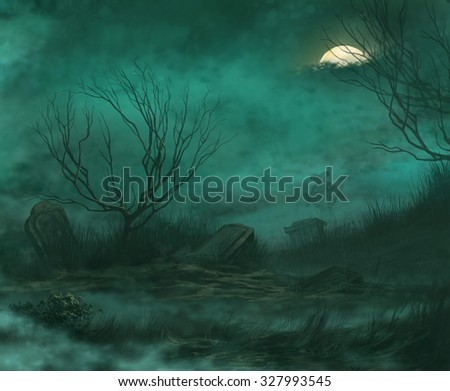 old abandoned cemetery on a moonlit night - stock photo