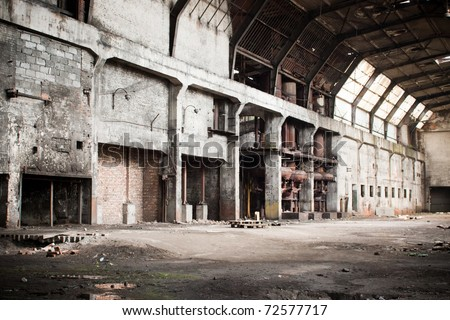 old abandoned factory during demolition - furnace - stock photo