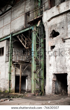 old abandoned factory during demolition - stairs