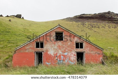 Old abandoned farmhouse in the west of Iceland