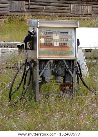 old abandoned gas pump - stock photo