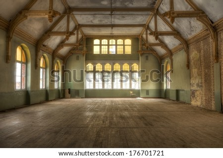 Old abandoned hall for events - stock photo