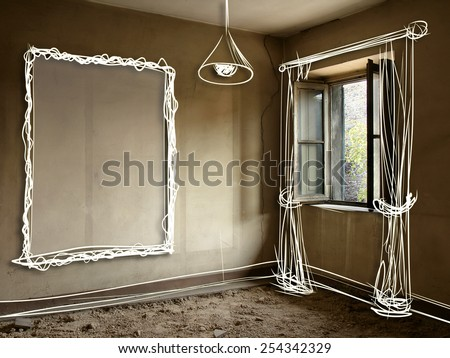 Old abandoned home interiors with design sketch: renovation and interior design. Original illustrations and photo. - stock photo