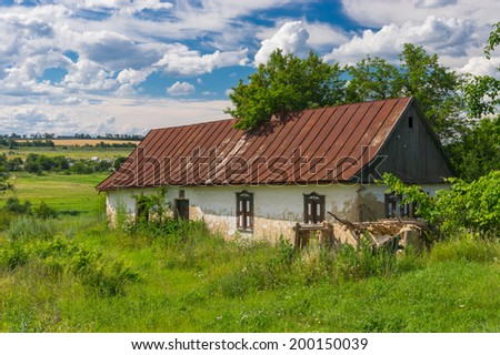 Old abandoned house in Ukrainian rural area