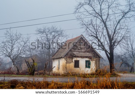 Old abandoned house on the countryside. - stock photo