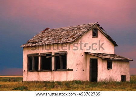 Old abandoned house or building in western Kansas. - stock photo