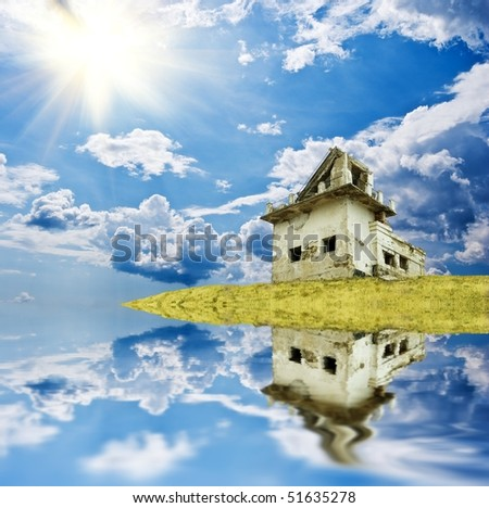 old abandoned house reflected in a water - stock photo