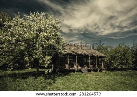 Old abandoned hut under dramatic skies, natural landscape - stock photo