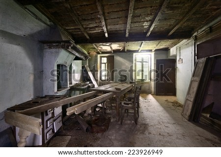 old abandoned kitchen - stock photo