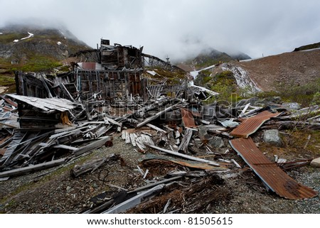 Old abandoned mine in Alaska, USA - stock photo