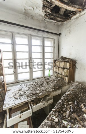 old abandoned office with files