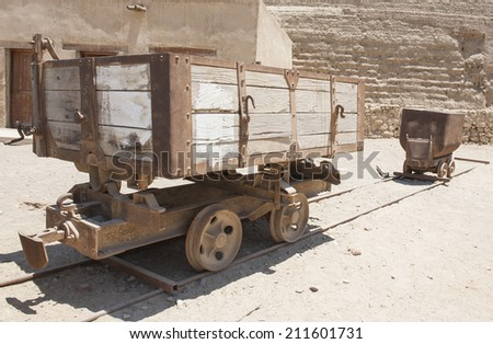 Old abandoned railway truck from a mine in egypt