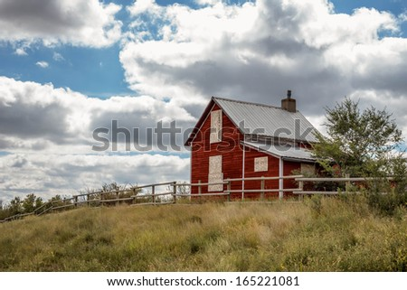 Old Abandoned Red Farm House - stock photo
