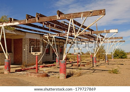 Old abandoned restaurant drive inn cafe along Route 66 in northern Texas - stock photo