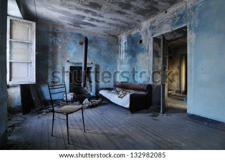 Old abandoned room - stock photo