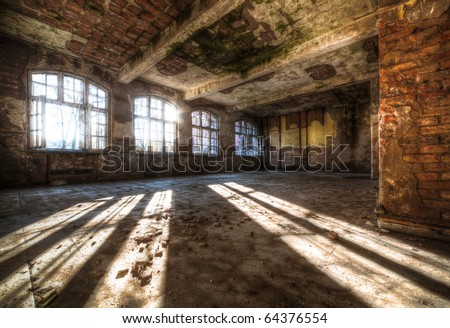 Old abandoned room in HDR technique - stock photo