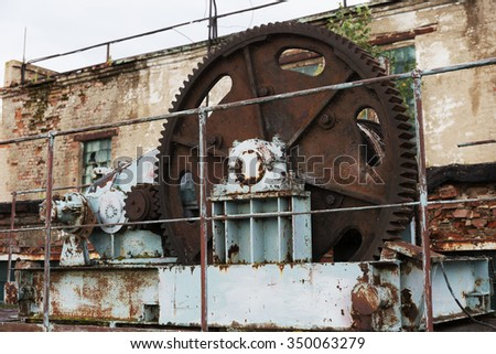 Old abandoned sluices on the dam - stock photo