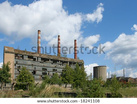 Old abandoned steel factory in Poland. Industrial architecture.