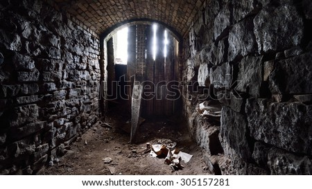 Old abandoned warehouses in a dungeons. Riga, Latvia - stock photo