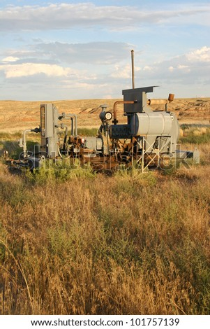 Old, abandunt natural gas compressor station - stock photo