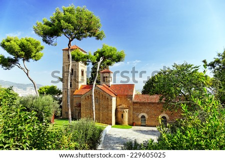 Old abbey in Barcelona. Spain.Catalonia. - stock photo
