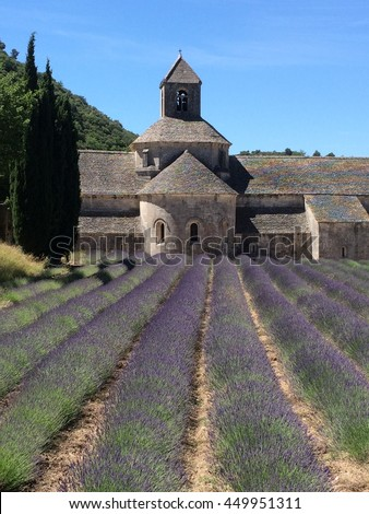 Old abbey in Provence, France with lavender field