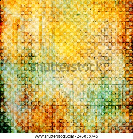Old abstract grunge background, aged retro texture. With different color patterns: yellow (beige); brown; green - stock photo
