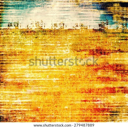 Old abstract grunge background, aged retro texture. With different color patterns: yellow (beige); brown; blue; red (orange) - stock photo