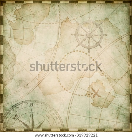 old abstract pirates map stylization - stock photo