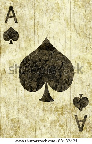 Old ace of spades playing card - stock photo