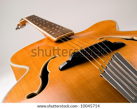 Old acoustic archtop jazz guitar c1959 - stock photo