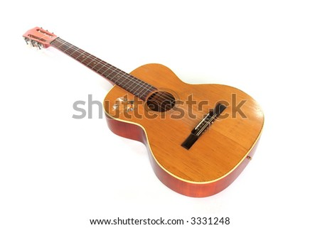 Old Acoustic Guitar Isolated On White Stock Photo Royalty Free